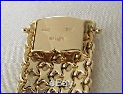 14K Solid Yellow Gold Ladies Woven Mesh Bracelet 7 x 18mm Wide Oritalia 45.3g