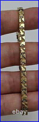 14K Solid Yellow Gold Nugget Style 5mm wide Chain Bracelet 7 (11g)