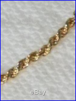 14K Solid Yellow Gold Rope Chain Bracelet, 2.97 MM Wide 7.25 Inches, Gently Worn