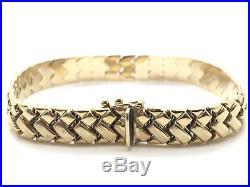 14K Solid Yellow Gold Wide Fancy Flat Braid Design Link 7.5 Bracelet 12 Grams
