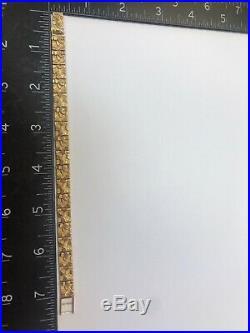 14K YELLOW GOLD Nugget Design Heavy 8mm Wide BRACELET 15.9gr & Long 7.257.50