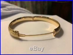 14K YG GOLD VINTAGE Etched 1/2 Wide BANGLE Bracelet almost 13 grams wear/scrap