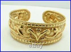 14K Y Gold Scroll Style Cuff Bangle Bracelet Italian 20mm Wide 6.25 14.7g D9431
