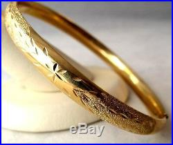 14K Yellow 7.5gr Gold Bangle 7 Bracelet Etched Diamond Cut Texture 6.2mm wide