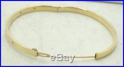 14K Yellow Gold 4.8mm Wide 5 Dia. Studded Hinge Bangle Bracelet 7 D1396-1421