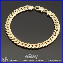 14K Yellow Gold 7.5 mm Wide Miami Cuban Link Men's Bracelet 14g 8.5