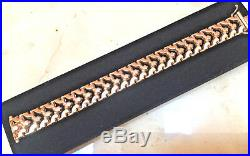14K Yellow Gold 7 Wide Link Bracelet Stunning ITALY Milor MUST SEE