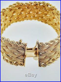 14K Yellow Gold Basket Weave Braided Style Bracelet 1 Inch Wide 47.2 grams