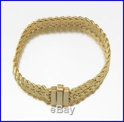 14K Yellow Gold Bismark Link Wide Mesh Bracelet Designer Signed Made in Italy