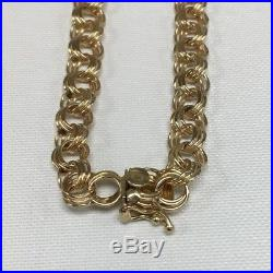 14K Yellow Gold Charm Bracelet, 7 1/2 long 7.2mm wide