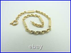14K Yellow Gold Fancy Rope Bar Link Bracelet 8 inch 9.3 grams 3.50 mm Wide
