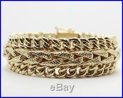 14K Yellow Gold Fancy Triple Cuban Link Ladies Bracelet 7 inches 20mm wide 65g