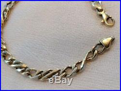 14K Yellow Gold Flat Link Bracelet with Lobster Clasp 7 5/8 Wide Italy 6.2