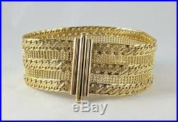 14K Yellow Gold ITALY Designer 1 Wide Fancy Chain Link 7.5 Bracelet 21.93gm