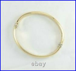 14K Yellow Gold M Italy 8mm Wide Hinged Domed Bangle Bracelet 12.03gm