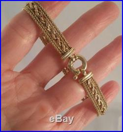 14K Yellow Gold Mesh Braid Bracelet Italy 7.5 inches 9.0mm wide Nice
