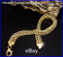 14K Yellow Gold Milor Woven Infinity Link Bracelet 7 Inch 6.5mm Wide