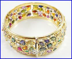 14K Yellow Gold Multi Gem Stones Bangle Bracelet 7/8 Wide Hinged 7.5 Long