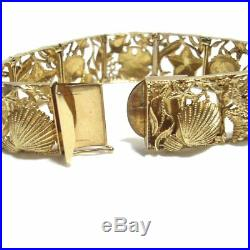 14K Yellow Gold Sea Life Seashells 7.5 Long Bracelet. 75 Wide 42.3 grams