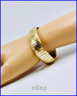 14K Yellow Gold Wide Aurafin Italian Omega Diamond Cut Bracelet
