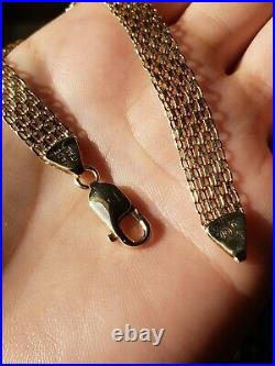 14K Yellow Gold Wide Flat Link Chain Bracelet 8mm