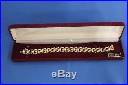 14K Yellow Gold Wide Link Elegant Stampato Bracelet Vintage Milor Italy 7