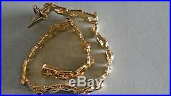 14K Yellow Gold Wide Link Elegant Stampato Bracelet Vintage Milor Italy 8.25