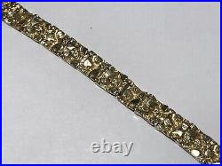 14K Yellow Solid Gold Nugget Bracelet 1/4 Inch By 7 Inches, 7.5mm Wide