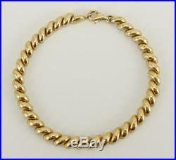 14K yellow gold 7 link chain puffy macaroni San Marco 6mm wide bracelet 7.7g