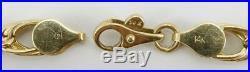 14K yellow gold ladies 7 3/4 chain link 7mm wide bracelet 5.1g