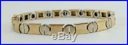 14K yellow +white gold ladies link 5mm wide 7 1/4 mod bracelet circle 9.5g