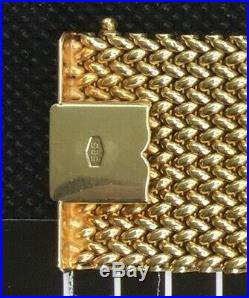 14 KT Solid Gold Wide Mesh Bracelet 53 Gm Beautiful Condition Stamped 585 BREV