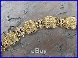 14 KT Yellow Gold Byzantine Link Textured Shiny Wide Bracelet 6.25 Etruscan