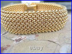 14 KT Yellow Gold Wide Thick Mesh Link Style Soft Bangle Bracelet Heavy NEW 7