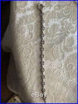 14 K White Gold Designer Link Bracelet, Italy, 12 G, 7 3/4 Long x 6/16 Wide