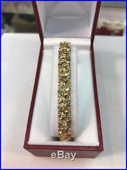 14 Kt Solid Yellow Gold Men's Nugget Bracelet 8 mm Wide, 25.5 Grams, 8.25 Long