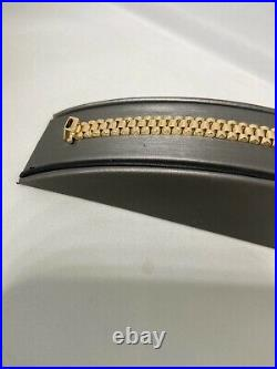 14 Kt Yellow gold Ladies Presidential Band Bracelet Style 7 1/2 lenght 8.5 wide