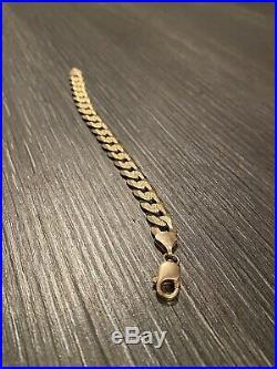 14 kt solid gold mens bracelet cuban Link 8 1/2 Long 27 Grams 11mn Wide