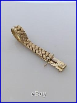 14k AU Yellow Gold Fancy Link 11.5mm Wide Bracelet Turkey 15.65 grams