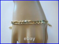 14k Figaro Yellow Gold Bracelet 9.93 Grams Marked INL. A Italy Chain 6mm Wide 8