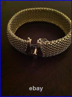 14k Gold 7.25in Polished Mesh Bracelet, 18.75mm wide