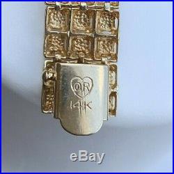 14k Gold 7 Diamond Cut Wide Ladies Bracelet 16.0 Grams
