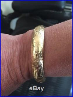 14k Gold Diamond Cut Bangle Bracelet 10mm Wide, 13 Grams