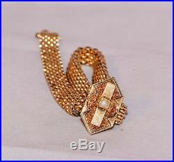 14k Gold Fancy Wide Link Slide Bracelet Lovely Antique Egyptian Revival