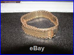 14k Gold Italy 12mm Wide Flat Mirror Bar Bracelet 7