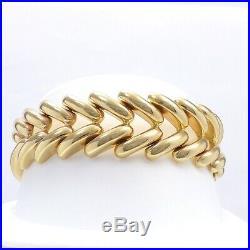 14k Gold Italy Wide V Link Chevron Stampato Bracelet 36 grams