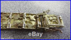 14k Gold Nugget Bracelet 8 inch long x 1/2 inch wide Solid 14k Gold Make Offer