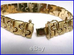 14k LND Fancy Status Link Bracelet Heavy 21.2gr Brush & Polished 1/2 wide