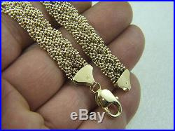14k Ladies Wide Width Bracelet 14 Karat Yellow Gold 7+ Inch Designer Bracelet