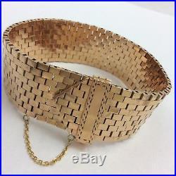 14k Rose Gold Wide Buckle Bracelet